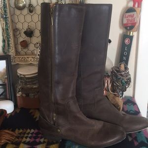 Clarks Knee-High Oiled Leather Riding Boot